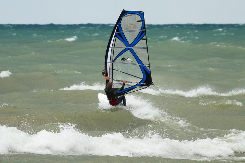 Wind Surfing and Kite surfing at Michigan City, Lake Michigan