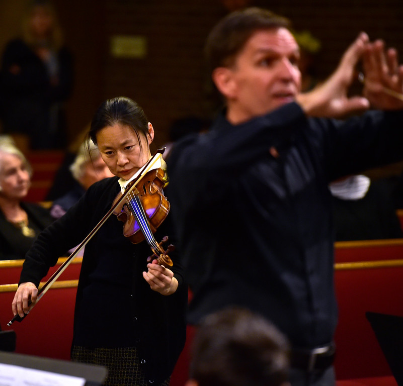 . BOULDER, CO - OCTOBER 31, 2018  Midori plays with the Greater Boulder Youth Orchestras as Gary Lewis conducts during practice at the Mountain View United Methodist Church in Boulder on Wednesday October 31, 2018.  (Photo by Paul Aiken/Staff Photographer)
