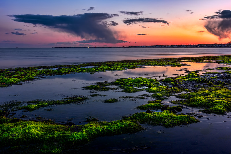 Low tide at Gulf Beach in Milford, CT, USA.