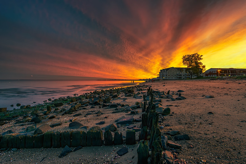 Sunset at  Walnut Beach, Milford, Connecticut, USA.