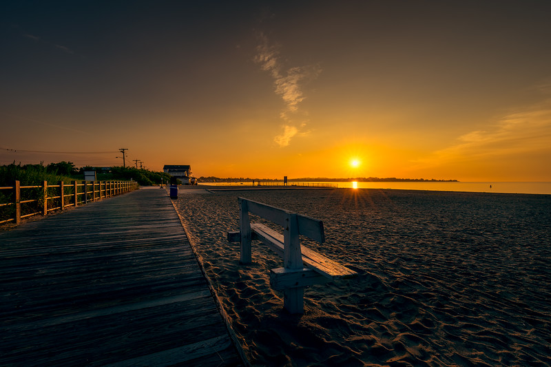 Early morning at Silver Sands Beach, Milford, CT, USA.