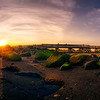 Panoramic  shot of  the Boardwalk at Silver Sands State Park, Milford, CT, USA.