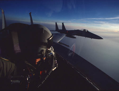 Self-portrait in an F-15 Eagle in the skies over the Netherlands at 10:30 P.M. (The land of the midnight sun)