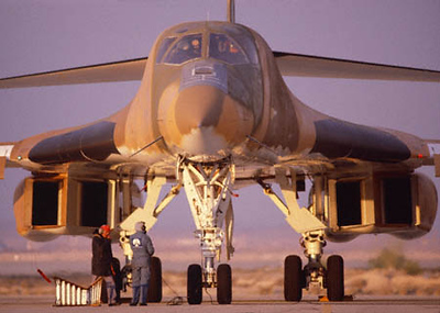 B-1B Test Aircraft at Nellis AFB, Nevada during flight evaluation and testing.