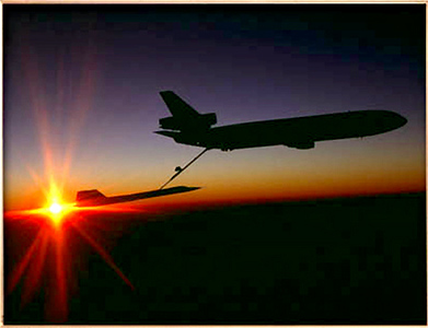 SR-71 Blackbird Refueled by KC-10 at sunset off the coast of California.