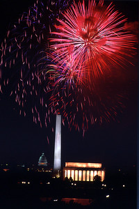 Bicentennial Fireworks over the Washington Mall on July 4, 1976