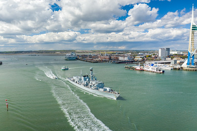 HMS Lancaster sails from her home port of HMNB Portsmouth