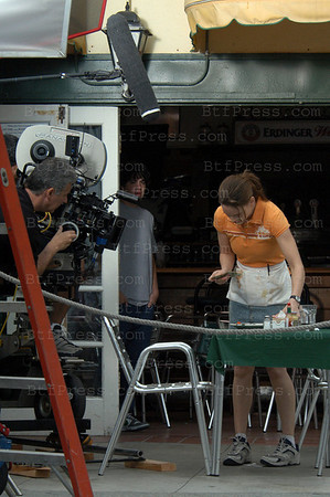"Venice(California), June 07,2004: Actress Hilary Swank during the movie set of ""Million Dollar Baby"", Director Clint Eastwood in Venice California on June 07 ,2004."