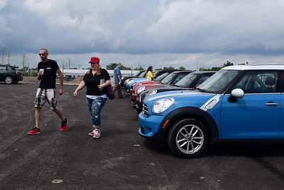 MINI enthusiasts gathered at the M1 Concourse in Pontiac on Friday, Aug. 4, ahead of MINI on the Mack, where MINI motorers gathered in the Upper Peninsula on Saturday, Aug. 5 , to try and break the Guinness World Record for the largest parade of MINI vehicles. (Photo by Natalie Broda - Digital First Media)