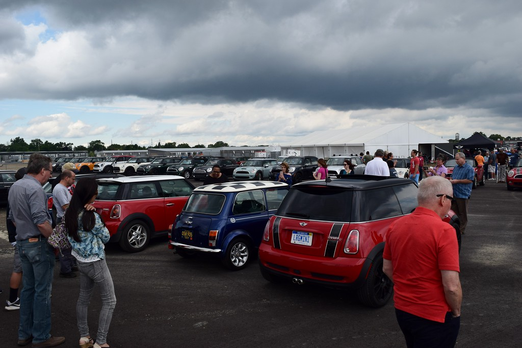 . MINI enthusiasts gathered at the M1 Concourse in Pontiac on Friday, Aug. 4, ahead of MINI on the Mack, where MINI motorers gathered in the Upper Peninsula on Saturday, Aug. 5 , to try and break the Guinness World Record for the largest parade of MINI vehicles. (Photo by Natalie Broda - Digital First Media)