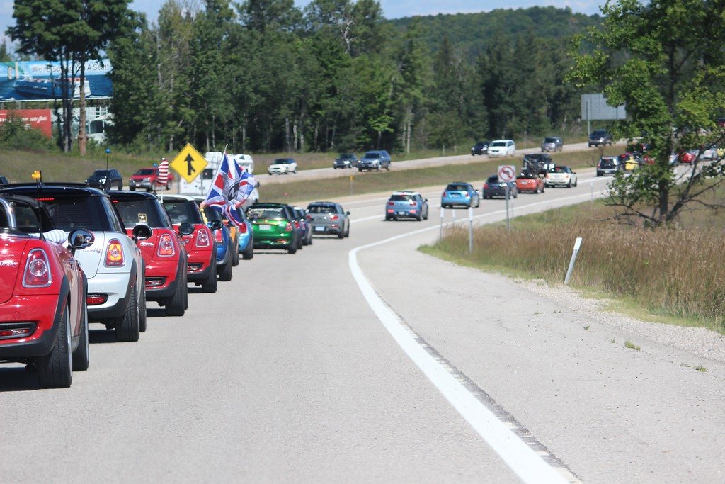 . More than 1,300 MINI drivers gathered in Michigan\'s Upper Peninsula Saturday, Aug. 5, 2017, in attempt to break the Guinness World Record for largest parade of MINIs. The group  fell short of the 1,450 record, reaching 1,328. (Photo by Jenny Sherman / The Oakland Press)
