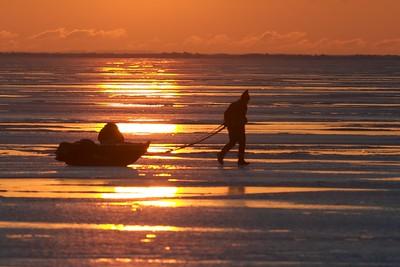 Ice fisherman Lake Superior sunrise Duluth MN Stensaas CRW_1323