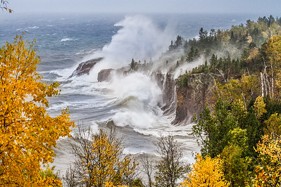 Waves Lake Superior cliffs storm Tettegouche State Park Lake County MN StensaasIMG_4752