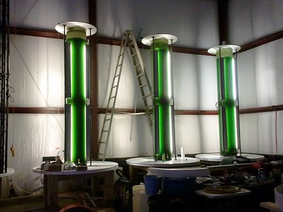 HY-TEK Bio's flue-scrubbing algae tanks installed at the Back River Waste Water Treatment Plant in Baltimore.