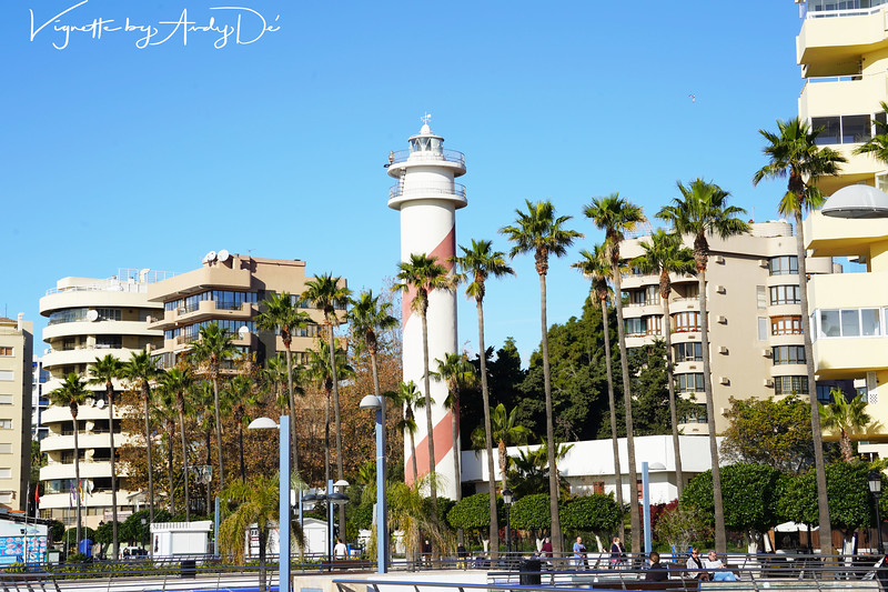 The Lighthouse in the midst of the high rise and expensive apartments overlooking the beaches in MARBELLA, was cool and happening!