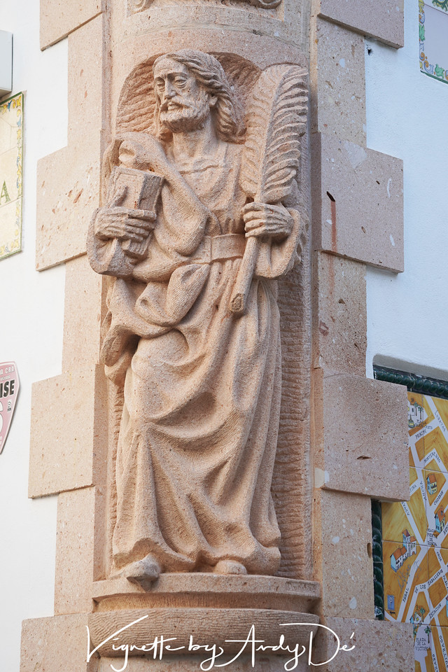 Bust of the MOSES with the 10 Commandments on a building housing a cafe at the city center of MARBELLA!