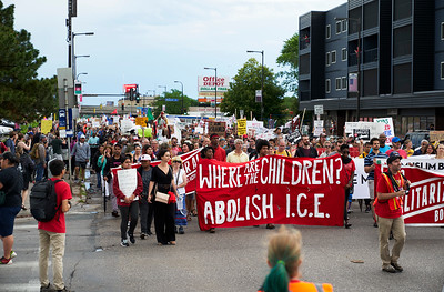 Marching to protest the separation of families and living conditions for children on the southern border.  Minneapolis, Minnesota - June 30.