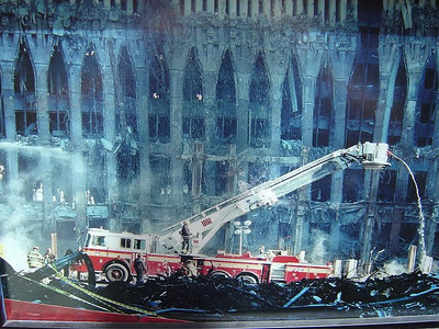 FDNY MUSEUM, PHOTOS FROM 9-11-01 IN THE MEMORIAL ROOM.