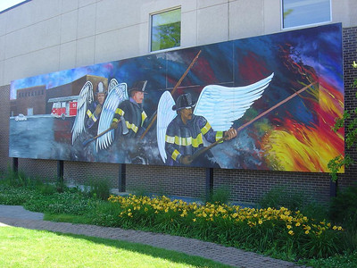 Chicago Fire Dept. memorial for 3 members of Truck Co. 58 located at Kimball & Diversey