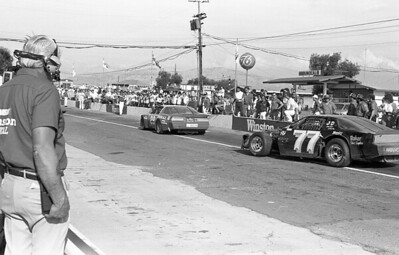 1986 NASCAR Riverside - B&W Soutwest Cars 29 and 77 pitting