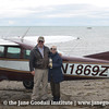 Jane and the pilot on the landing strip in Hallo Bay. As you can see it is literally on the beach!