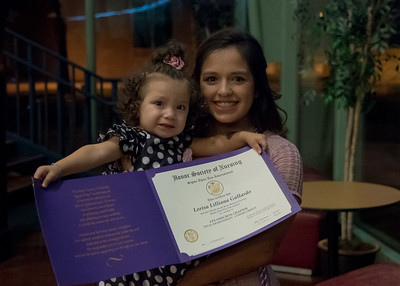 Student Lorisa Gallardo with her Daughter Bella Cansino after being inducted.