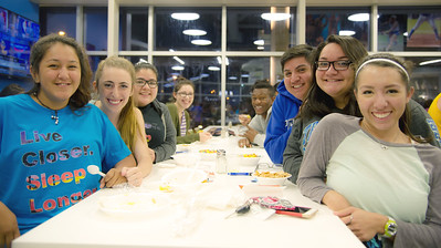 Students enjoy the Dining Hall's Late Night Breakfast before finals begin.