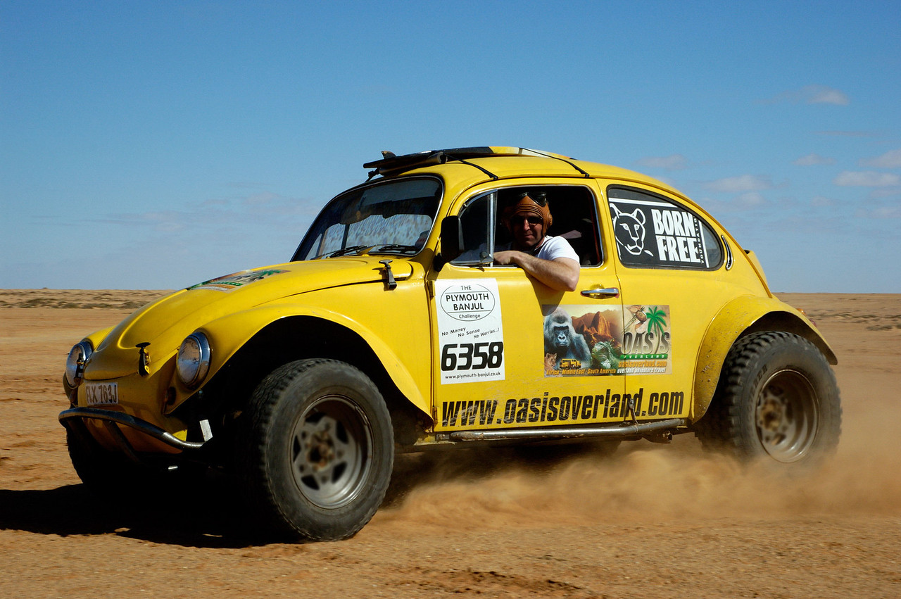 The Sandbug (competitor in the 2005 Plymouth-Banjul Challenge) in Western Sahara desert