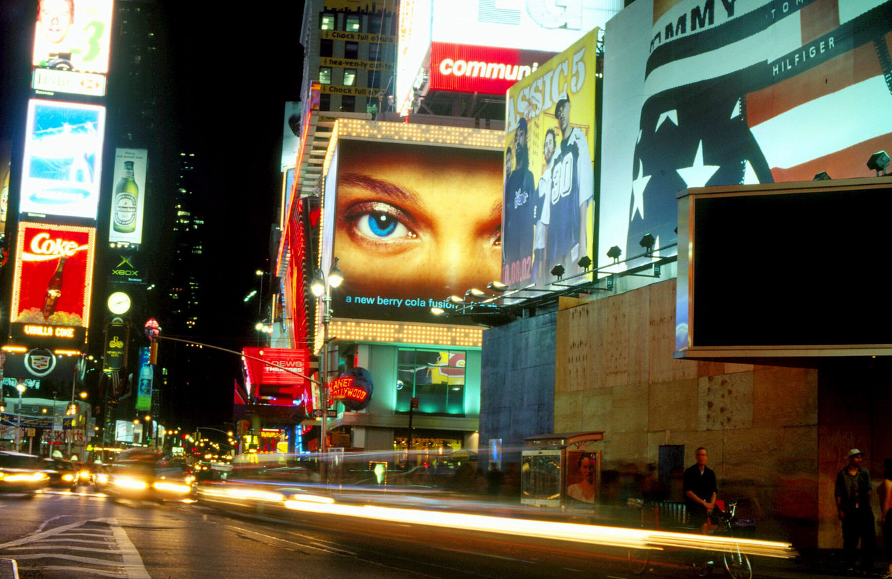 """Times Square """"prostitutes  itself with neon"""""""