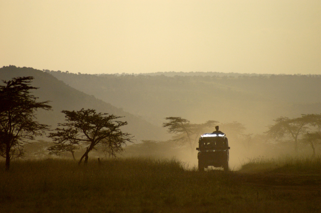 Driving back to camp after a long safari, Maasia Mara