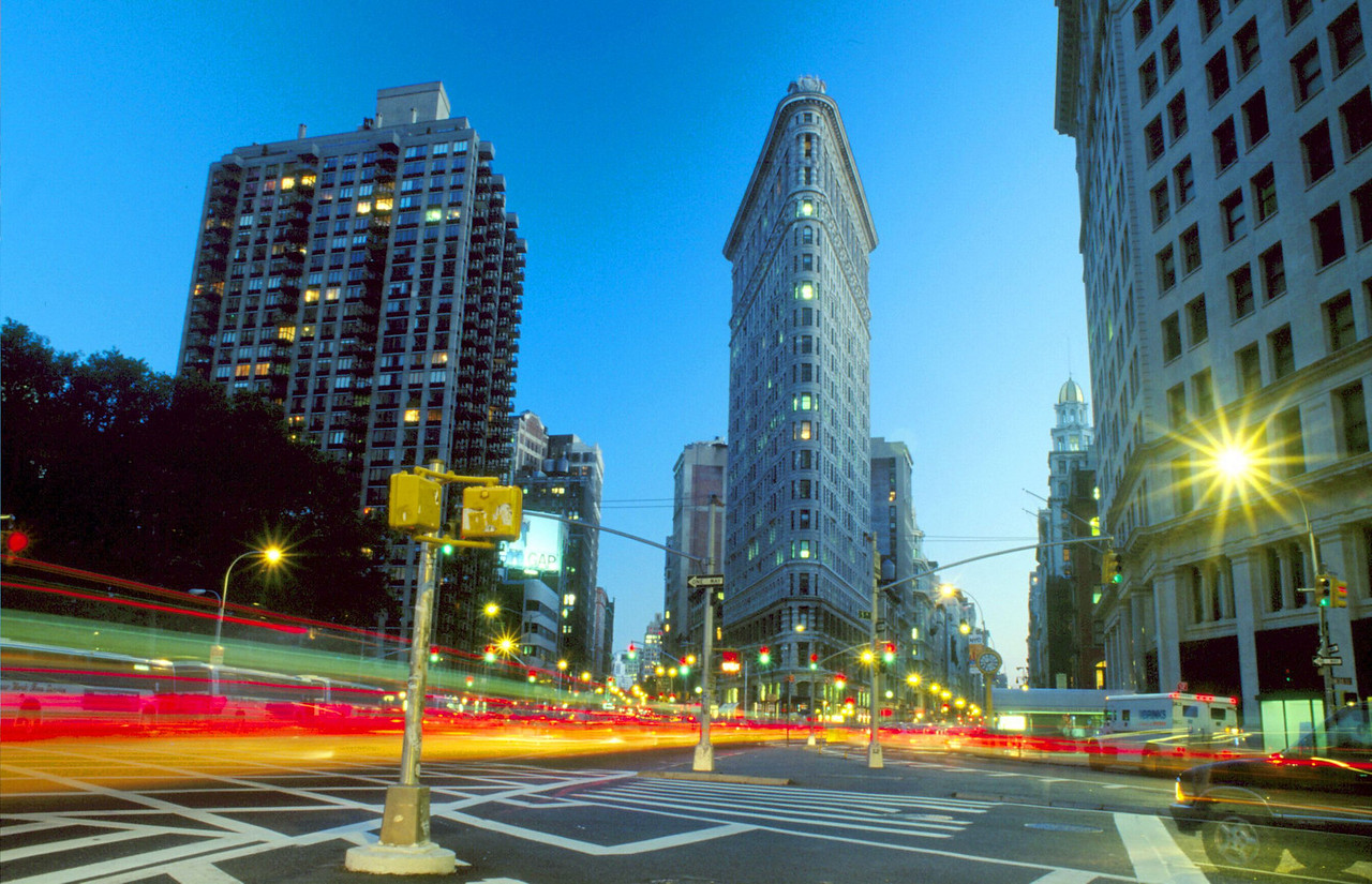 The Flatiron Building, like a gigantic ship cruising uptown.