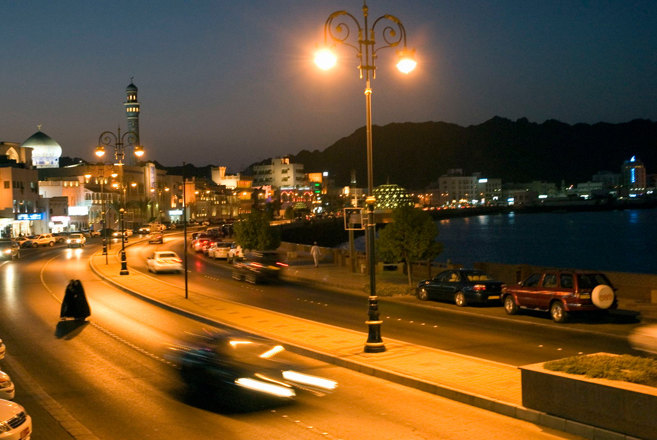 The Corniche waterfront is the centrepoint of traditional life in the Mutrah district of Muscat.