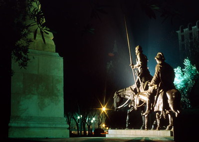 Don Quixote and Sancho Panza on the monument to Cervantes in Plaza de España