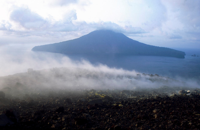 Krakatoa's peak is a hellish landscape of poisonous gasses and 'meadows' of primrose-yellow sulphur beds