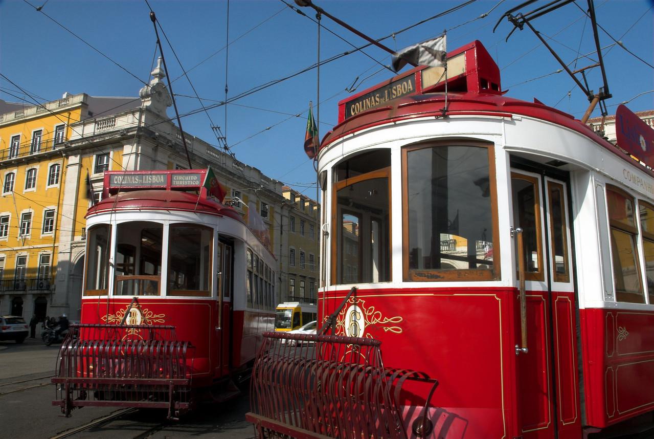 Trams in Praca do Comercio, Lisbon