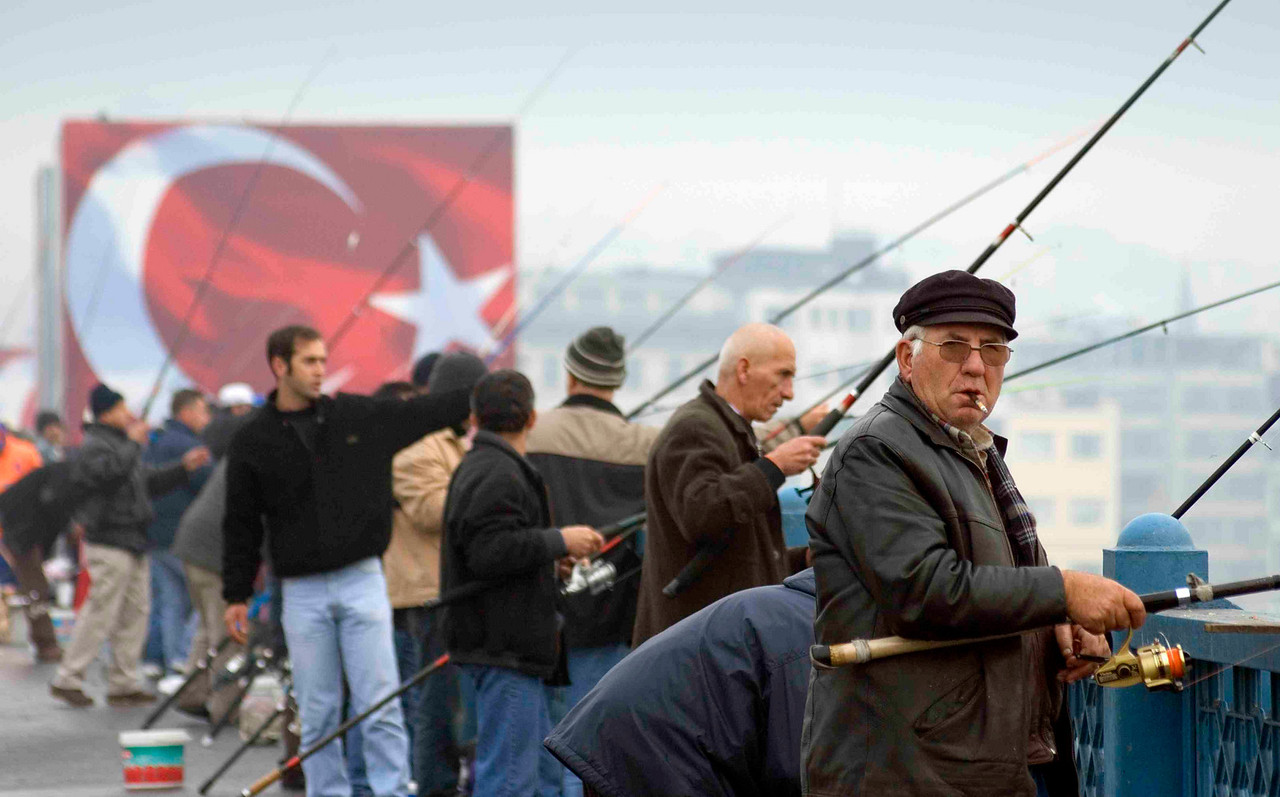 Fishing could almost be the national sport of Turkey. Every day - whatever the weather - hordes of up to 200 fishermen line Galata Bridge, rubbing shoulders and sharing glasses of strong tea as they do their best to harvest the Golden Horn.