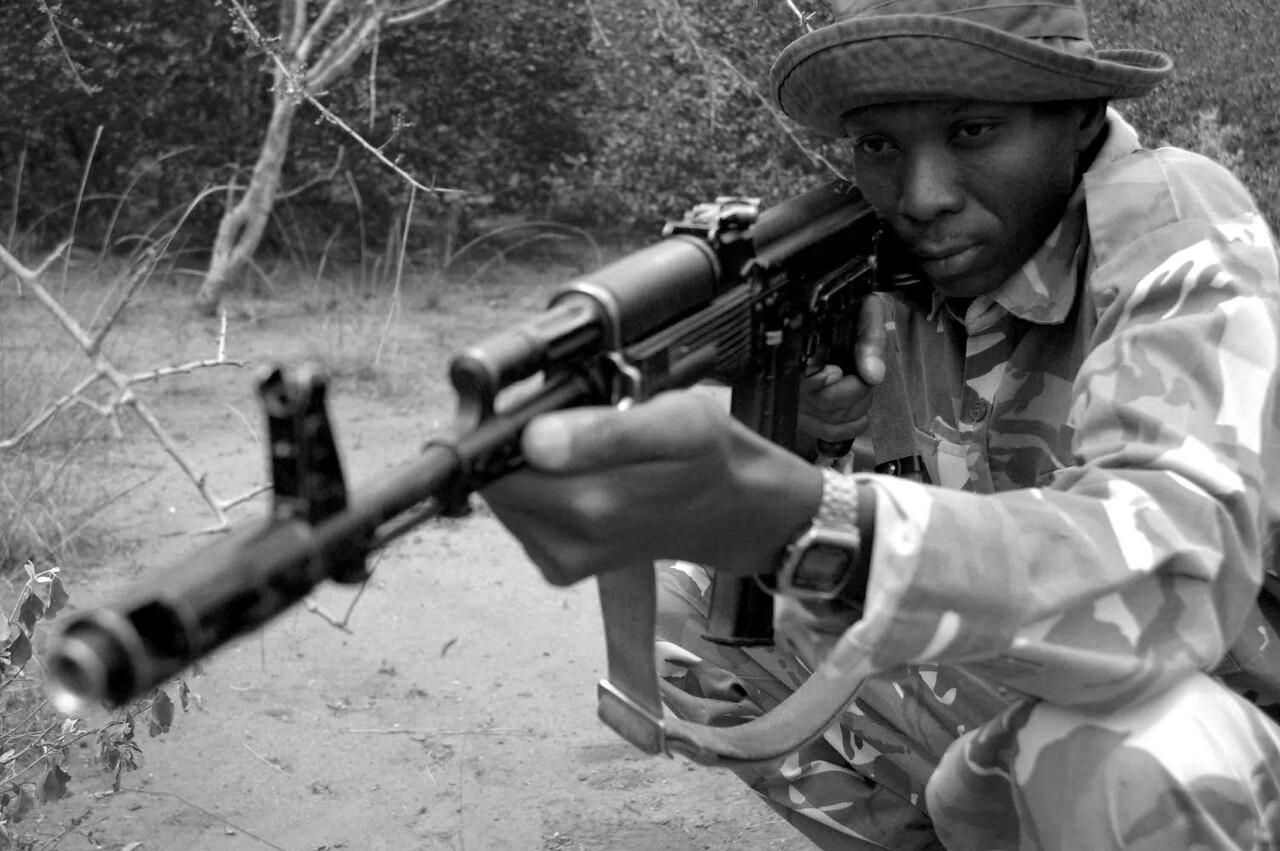 A KWS, Kenya Wildlife Service, ranger on poaching patrol