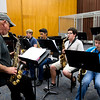 Bobby Hesch and his advance jazz students rehearse a piece of music.
