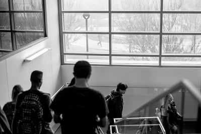 Islander Students make their way to their next class, walking through the O'Conner Building.