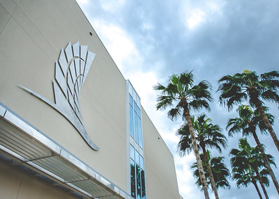 """The University Center was equipped with a beatufiul TAMU-CC """"badge""""."""