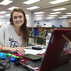 Victoria Hines working on her Biomedical Science assignment in the Mary and Jeff Bell Library.