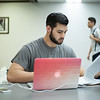 Rickey Morazzano works on his Chemistry 2 assignment in the Mary and Jeff Library.