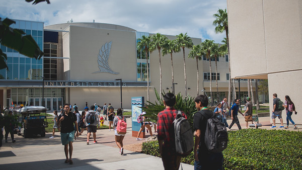 Students make their way across campus during the lunch hour.