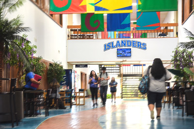 Students make their way through the Faculty Center