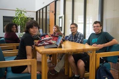 Amber Austin, Melody Brason, Chloe Perez, Gabriel Hinojosa and Joshua Messina hang out in the Faculty Center.