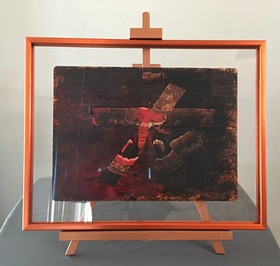 22x18 MOTH custom frame double sided MUSEUM GLASS with easel