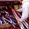 loading skis into Mark's truck