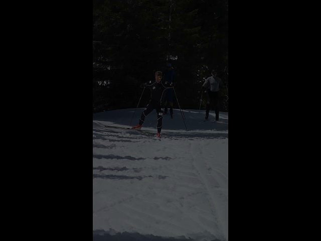 """A clip of Kris Freeman demonstrating Slow, then Fast skating, with a slow-motion version of the """"fast"""" skate at the end."""