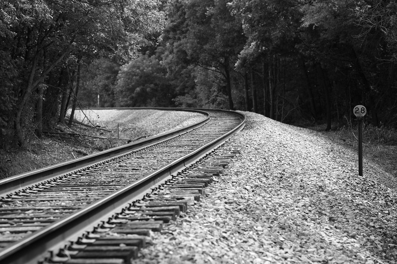 Curve in Tracks Leading to Bostian Train Bridge Statesville NC