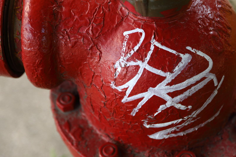 Graffiti on Red Fire Hydrant